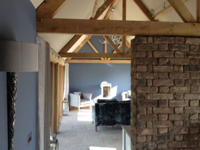 Green oak timber framed annexe with great interior design